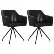 vidaXL Въртящи се трапезни столове, 2 бр, черни, изкуствена кожа