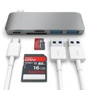 Satechi USB-C Pass Through USB Hub - мултифункционален хъб за свързване на допълнителна периферия за компютри с USB-C (тъмносив)