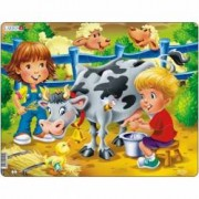 Puzzle Copiii la Ferma cu Vaca 18 Piese Larsen LRBM5 B39016773