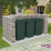 vidaXL Gabionska trostrana ograda za kantu za otpad od čelika 250 x 100 x 120 cm