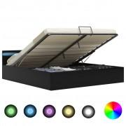 vidaXL Легло повдигащ механизъм с LED черно изкуствена кожа 160x200 cм