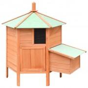 vidaXL Къща за пилета, чам и ела масив, 126x117x125 см