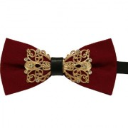 Leonardi Solid Maroon Polyester Free Size Adjustable Bow Tie for Men