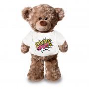 Bellatio Decorations Liefste juf pluche teddybeer knuffel 24 cm met wit t-shirt