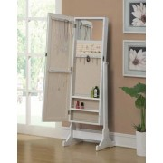 Coaster 901827 White finish wood free standing cheval mirror with built in jewelry cabinet