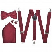 vidaXL Men's Black Tie/Tuxedo Accessories Braces & Bow Tie Set Burgundy