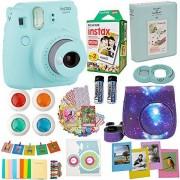 Abesons Fujifilm Instax Mini 9Ice Blue + accesorios Kit para cámara Fujifilm Instax Mini 9Cámara Incluye;Cámara instantánea + Fuji Instax Film (20PK) + cielo Camera Case + Frames + Selfie Lens + lbum y más