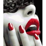 DP® Diamond Painting pakket volwassenen - Afbeelding: Geblinddoekte vrouw rode lippen - 40 x 40 cm volledige bedekking, vierkante steentjes - 100% Nederlandse productie! - Cat.: Mensen
