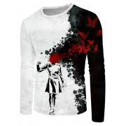 Rosegal T-shirt Décontracté Peinture Eclaboussée Papillon Abstrait à Col Rond 4XL