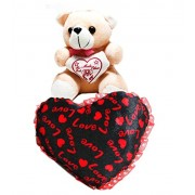 Amore Lovely Combo - Love Heart Cushion Stuffed Soft Plush Toy 11 Inches with Small 7 Inches Teddy For your Loved Ones