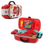 Set de joaca 2 in 1, Tools Set Mini Sports Car DIY cu 19 piese, Red