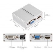 4k Ultra HD Active / Powered mini Displayport to HDMI+VGA+DVI Converter