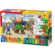Puzzle de colorat D-Toys - Pinocchio + 2 drawings to color, 24 piese (Dtoys-50380-PC-05)
