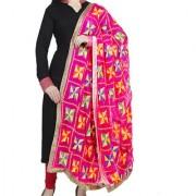 Weavers Villa Punjabi Hand Embroidery Phulkari Faux Chiffon Pink Dupatta Stoles