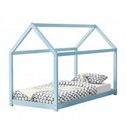 [en.casa]® Gyermekágy házikó formájú gyerekágy 200x90 cm kék