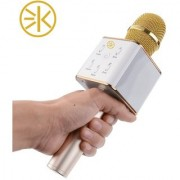 3Keys Karaoke Portable Handheld Wireless Microphone Condenser Mic With Bluetooth Speaker Compatible With All Gold