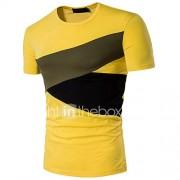 Heren Eenvoudig Actief Zomer T-shirt,Nette schoenen Uitgaan Kleurenblok Ronde hals Korte mouw Katoen Medium