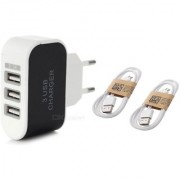 Combo (C4) of 3 USB Fast Charger and 2 pcs Data Cables (Assorted colors) by KSJ Accessories