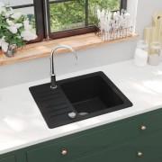 vidaXL fekete, egymedencés gránit mosogatótálca