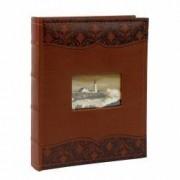 Album foto Luxury personalizabil piele file albe notite 100 poze 10X15 maro