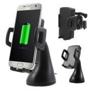 Shop4 - Draadloze Oplader QI Telefoon Autohouder Dashboard en Ventilatierooster Zwart