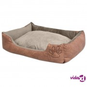vidaXL Krevet za pse s jastukom PU umjetna koža veličina L Bež