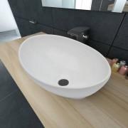 vidaXL Lavatório de luxo em cerâmica oval 40 x 33 cm branco
