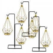 [en.casa]® Декоративни свещници , комплект от 3 броя, Златисти