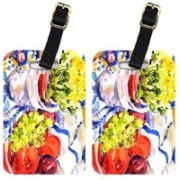 Caroline's Treasures 6037BT Apples Plums And Grapes With Flowers Luggage Tag(Multicolor)