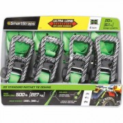 SmartStraps CarbonX Premium Ratchet Tie-Down Strap - 4-Pack, 1 Inch x 20ft., with J-Hook, 1500-Lb. Breaking Strength, Green, Model 4570