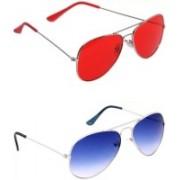 shadz Aviator Sunglasses(Red, Blue)