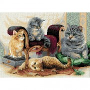 """Feline Family Counted Cross Stitch Kit-15.75""""X11.75"""" 14 Count (Pack of 1 )"""