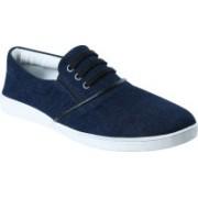 Zobello Men's Denim Mock Lace Slip-On Sneaker Sneakers For Men(Navy)
