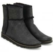 Clarks Damara Lia Black Leather Boots For Women(Black)