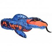 Wild Republic Pluche blauw/oranje slang knuffel 137 cm - Slangen reptielen knuffels