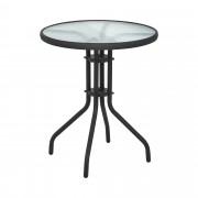 Zahradní stůl kulatý - Ø 60 cm - se skleněnou deskou - černý