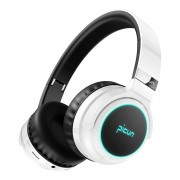 PICUN B26 Over-ear Bluetooth 5.0 Headphone Headset Earphone Colorful LED Light Touch Control - Black/White