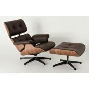 Replica Eames Lounge Chair + Ottoman - Brown Italian Leather Walnut Frame