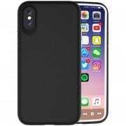 Para IPhone X PC + TPU Antideslizante Protector Cromado, Pulse El Boton Volver Funda (negro)