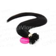 Indické vlasy na metodu keratin odstín 1A Délka: 60 cm, Hmotnost: 1 g/pramínek, REMY