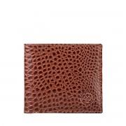 Braune Herren Geldbörse mit Münzfach in Kroko Optik - Brieftasche, Portemonnaie, Geldbeutel, Kreditkartenetui