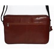 Skórzna torba na ramię z wyjmowaną kieszenią na laptopa - jasny brąz