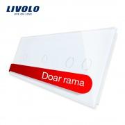 Panou intrerupator simplu+simplu+dublu cu touch LIVOLO din sticla, alb