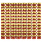Sonata Стъклени буркани за сладко със златисти капачки, 96 бр, 110 мл