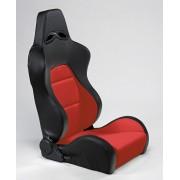 AutoStyle Siège sport 'Eco' - Noir / Rouge Cuir synthétique - Dossier réglable à droite - Glissières incluses SS40RR