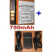 Chargeur + Batterie Pour KODAK KLIC7000 KLIC-7000 EasyShare LS755, EasyShare LS755 Zoom **750mAh**