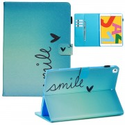 Pattern Printing Leather Wallet Stand Tablet Case for iPad 10.2 (2019) - Smile