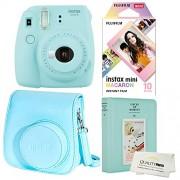 Fujifilm Instax Mini 9 Polaroid Cámara instantánea Azul Hielo más Funda Fuji Original, álbum de Fotos y Personaje de 10 películas