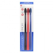Swissdent Colours Soft Medium středně měkký kartáček na zuby 3 ks odstín Black, Red, Blue