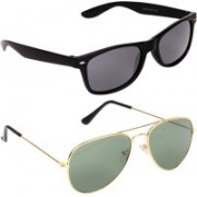 Aligatorr Wayfarer, Aviator Sunglasses(Grey, Blue)